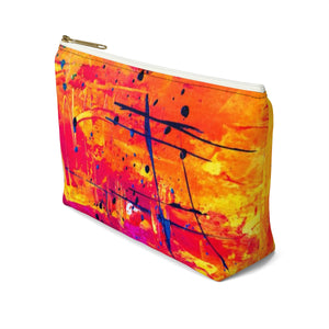 Makeup Bag Yellow, Red, and Blue Abstract Painting Small Right Side