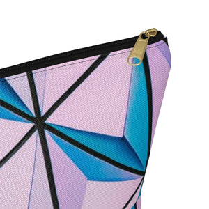 Makeup Bag Blue and Pink Triangles Abstract Art Large Close Up