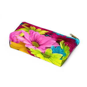 Makeup Bag Colorful Daisies Small Bottom