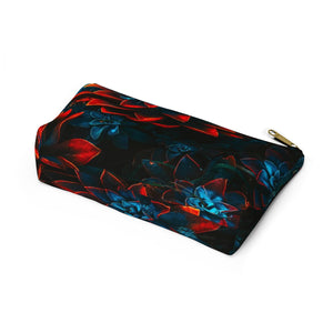Makeup Bag Blue and Red Plants Small Bottom