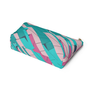 Makeup Bag Teal, Pink, and Hot Pink Large Bottom