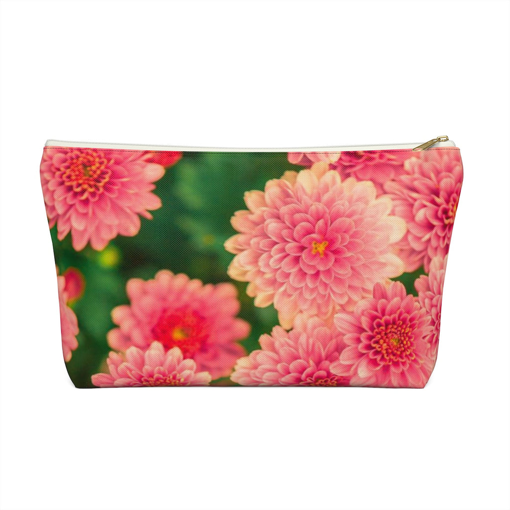 Makeup Bag Orange Flowers Large Front