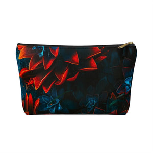 Makeup Bag Blue and Red Plants Small Front