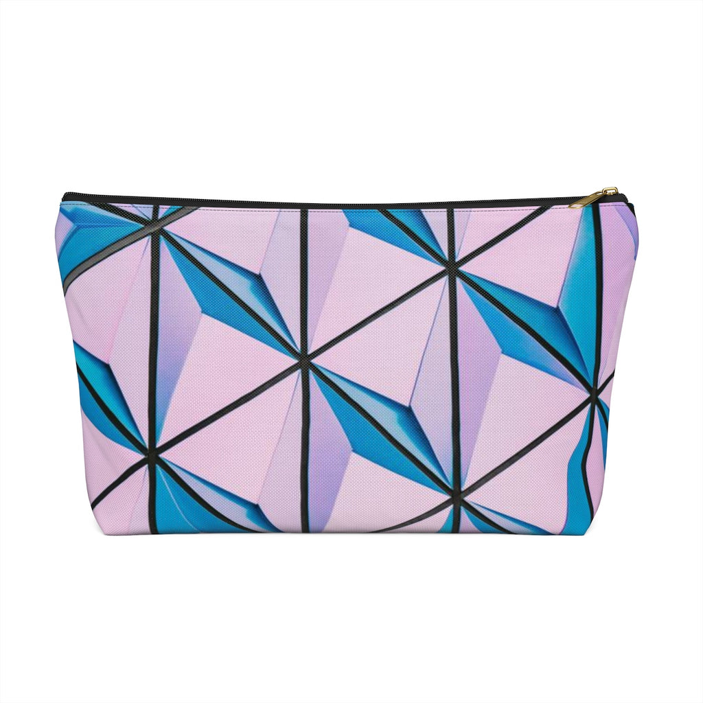 Makeup Bag Blue and Pink Triangles Abstract Art Large Front