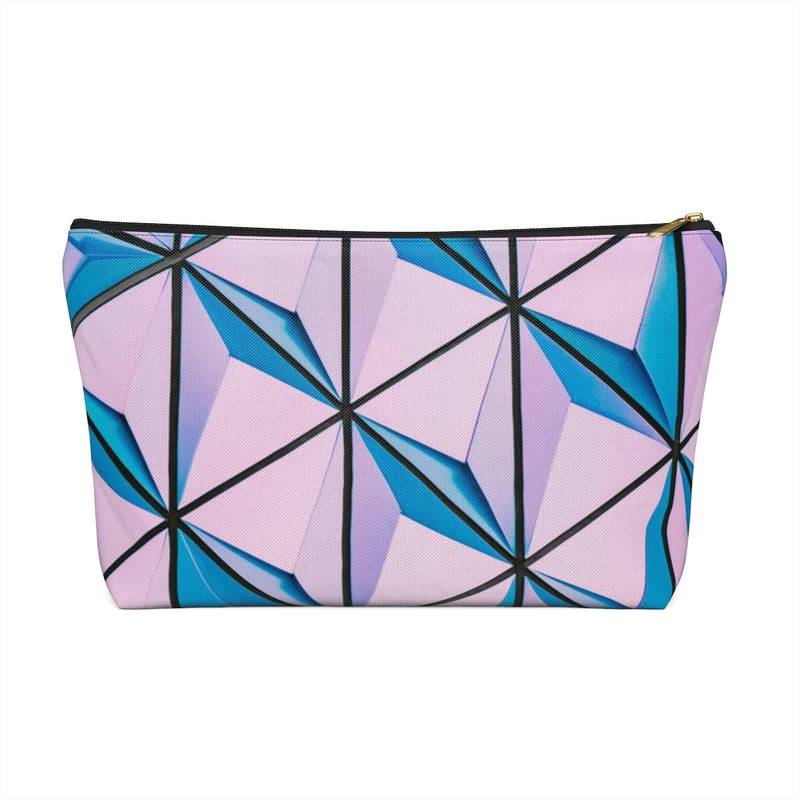 Makeup Bag Blue and Pink Triangles Abstract Art Large Right Side