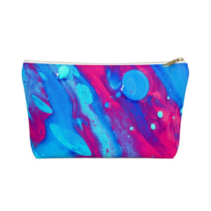 Makeup Bag Pink and Blue Abstract Painting Small Front