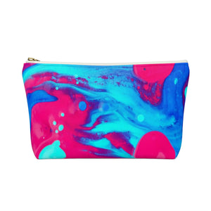 Makeup Bag Pink and Blue Abstract Painting Small Back
