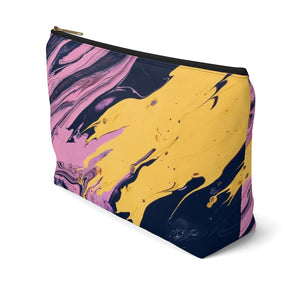 Makeup Bag Pink, Yellow, and Black Marble Large Right Side