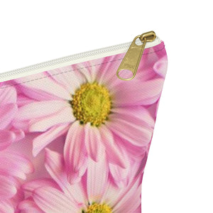 Makeup Bag Pink Daisies Small Close Up