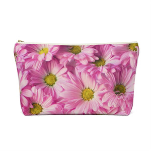 Makeup Bag Pink Daisies Large Back