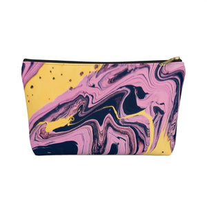 Makeup Bag Pink, Yellow, and Black Marble Small Front