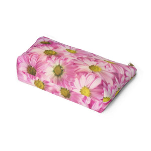 Makeup Bag Pink Daisies Large Bottom