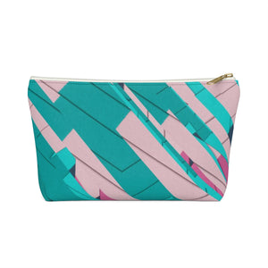 Makeup Bag Teal, Pink, and Hot Pink Small Front