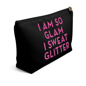 Makeup Bag I Am So Glam I Sweat Glitter Large Left Side