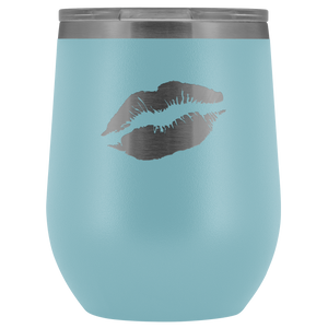 Wine Tumbler Lips in Light Blue
