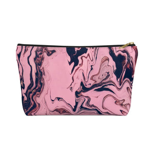 Makeup Bag Pink and Black Marble Small Front