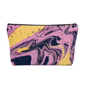 Makeup Bag Pink, Yellow, and Black Marble Large Front