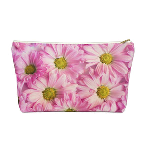 Makeup Bag Pink Daisies Large Front