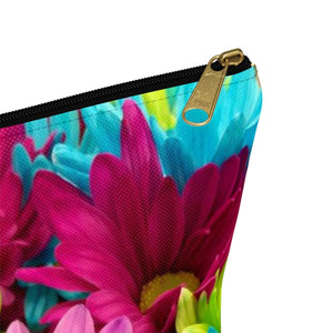 Makeup Bag Colorful Daisies Small Close Up