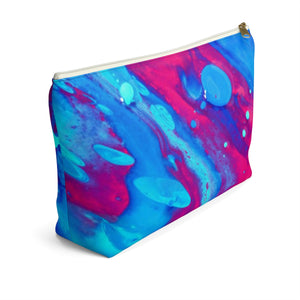 Makeup Bag Pink and Blue Abstract Painting Large Left Side