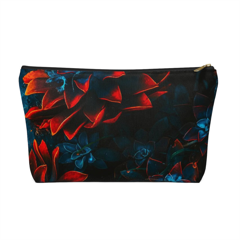 Makeup Bag Blue and Red Plants Large Front
