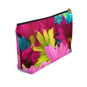 Makeup Bag Colorful Daisies Small Left Side