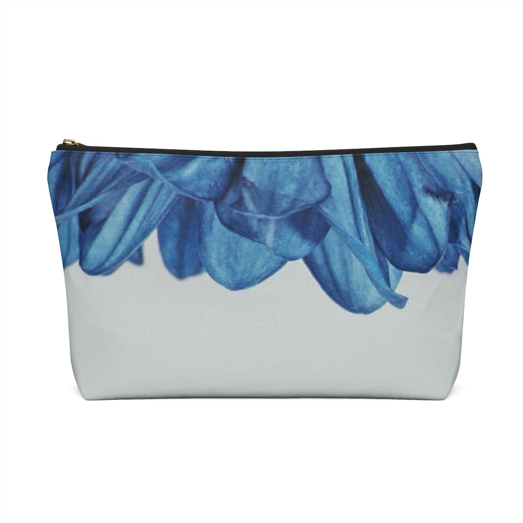 Makeup Bag Blue Flower Petals Large Back