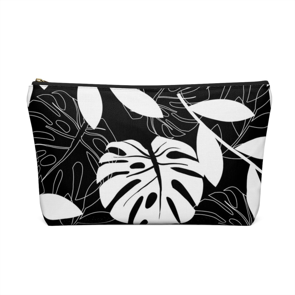 Makeup Bag Black and White Leaves Large Back