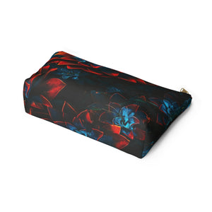 Makeup Bag Blue and Red Plants Large Bottom