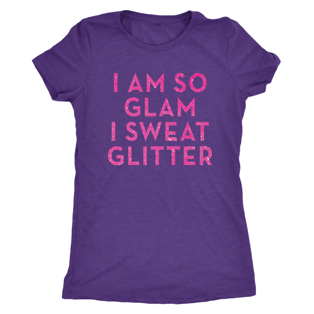 Tee I Am So Glam I Sweat Glitter in Purple Rush