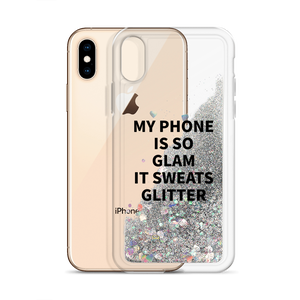 Silver Glitter Phone Case My Phone Is So Glam It Sweats Glitter