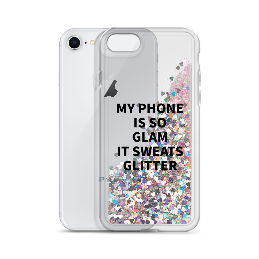 Pink Liquid Glitter Phone Case My Phone Is So Glam It Sweats Glitter