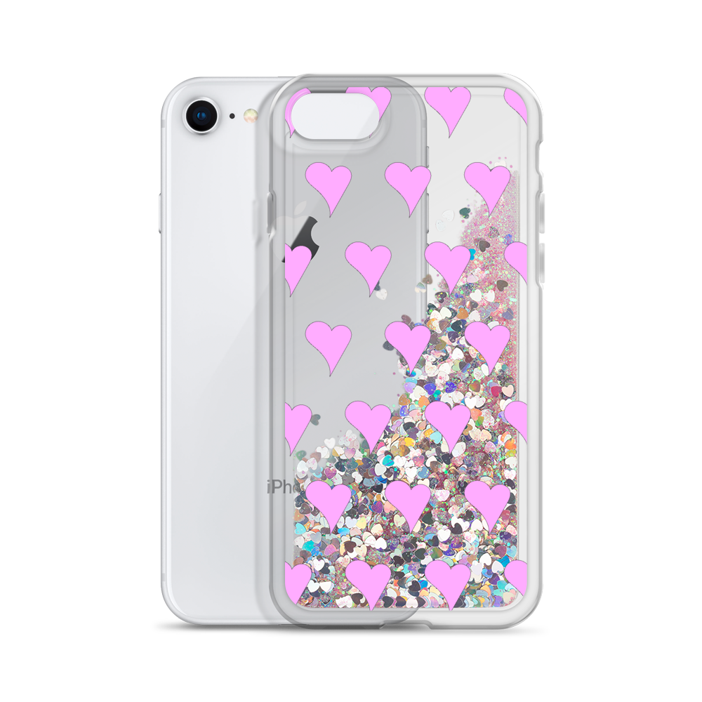 Pink Liquid Glitter Phone Case Hearts