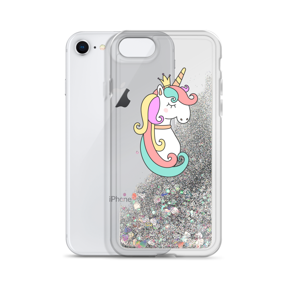 Silver Liquid Glitter Phone Case Queen Unicorn