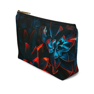 Makeup Bag Blue and Red Plants Small Right Side
