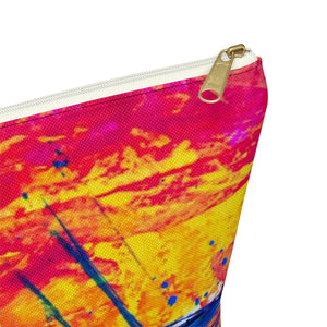 Makeup Bag Yellow, Red, and Blue Abstract Painting Large Close Up