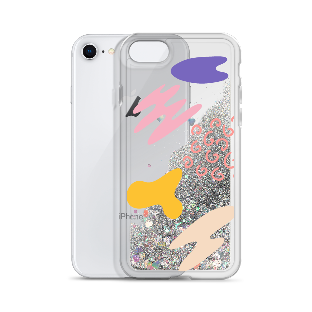 Silver Liquid Glitter Phone Case Abstract Print