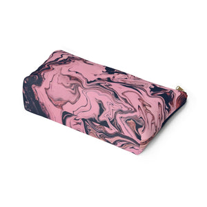 Makeup Bag Pink and Black Marble Large Bottom