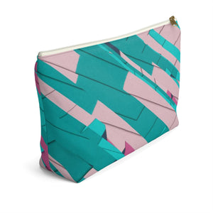 Makeup Bag Teal, Pink, and Hot Pink Large Left Side