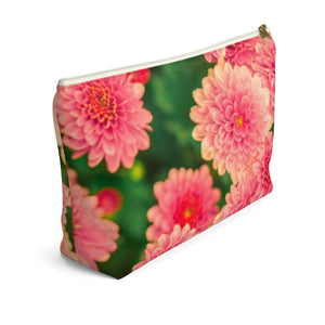 Makeup Bag Orange Flowers Large Left Side