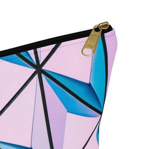 Makeup Bag Blue and Pink Triangles Abstract Art Small Close Up