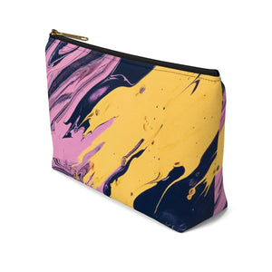 Makeup Bag Pink, Yellow, and Black Marble Small Right Side
