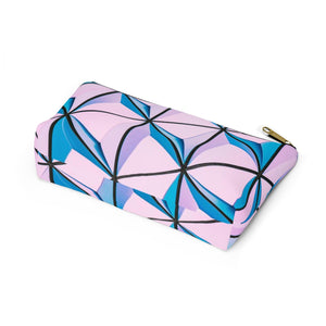 Makeup Bag Blue and Pink Triangles Abstract Art Small Bottom