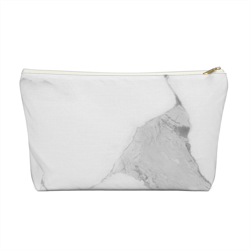 Makeup Bag Gray Marble Large Close Up