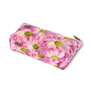 Makeup Bag Pink Daisies Small Bottom
