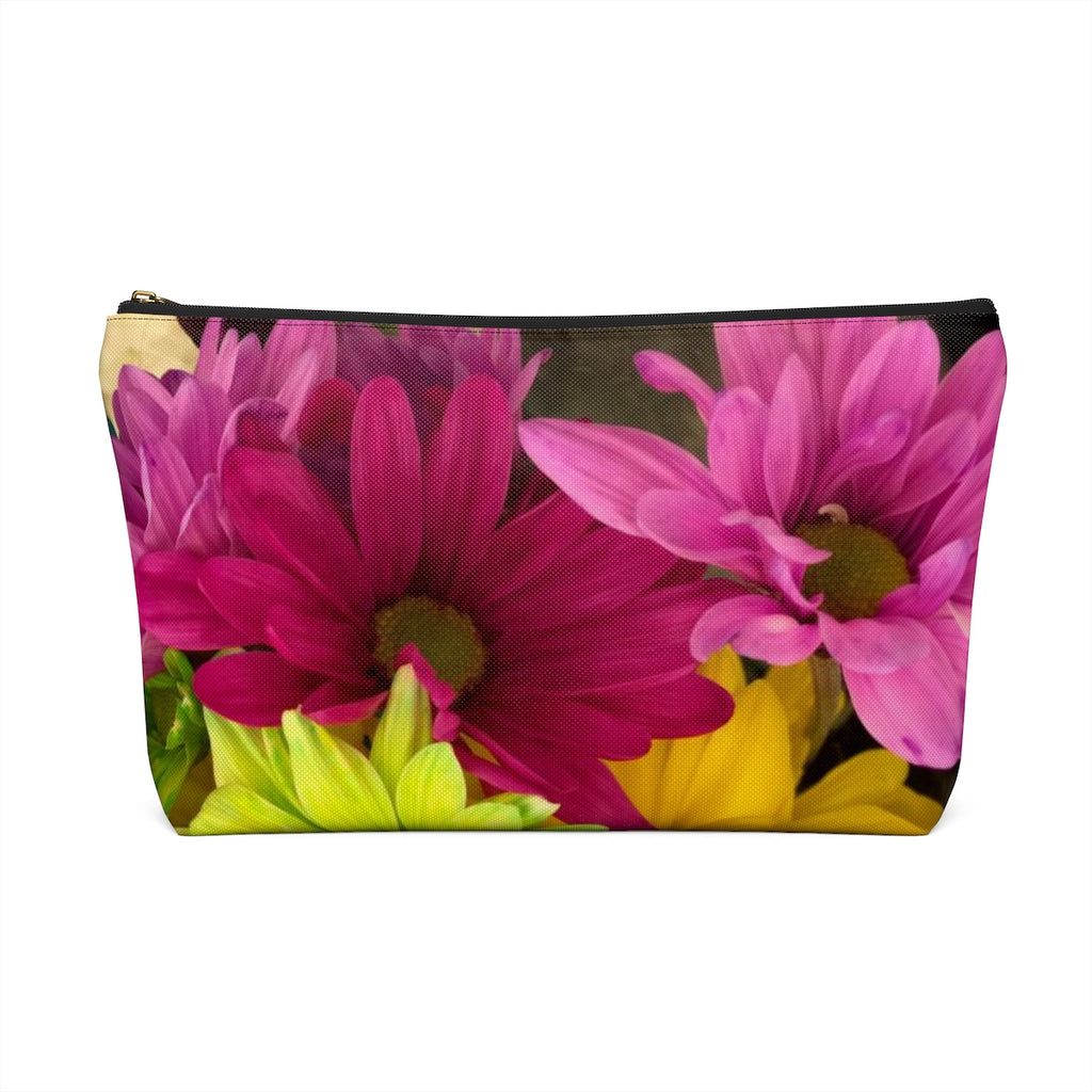 Makeup Bag Colorful Daisies Large Front