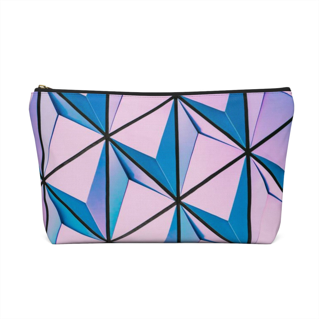 Makeup Bag Blue and Pink Triangles Abstract Art Large Back