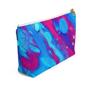 Makeup Bag Pink and Blue Abstract Painting Small Left Side