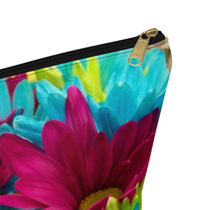 Makeup Bag Colorful Daisies Large Close Up