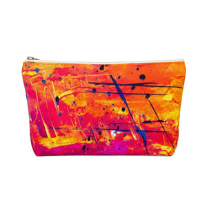 Makeup Bag Yellow, Red, and Blue Abstract Painting Small Back